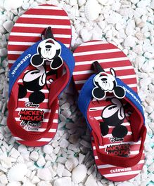 Cute Walk by Babyhug Flip Flops With Back Strap Mickey Mouse Patch - Red