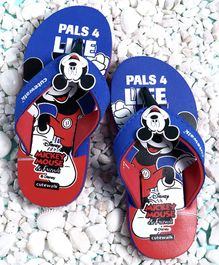 Cute Walk by Babyhug Flip Flops Mickey Mouse Patch - Red Blue