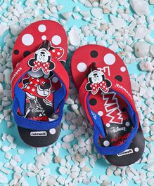 Cute Walk by Babyhug Flip Flops With Back Strap Minnie Mouse Patch - Red