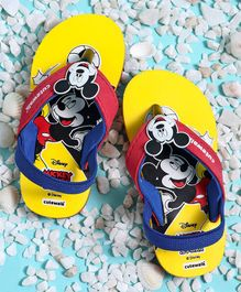 Cute Walk by Babyhug Flip Flops With Back Strap Mickey Mouse Patch & Football Print - Yellow