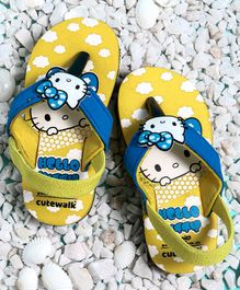 Cute Walk by Babyhug Flip Flops Hello Kitty Patch - Yellow