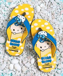 Cute Walk by Babyhug Flip Flops Hello Kitty Patch - Yellow Blue