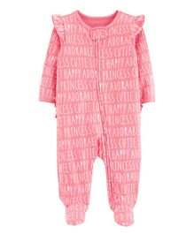 Carter's Slogan Zip-Up Cotton Sleep & Play - Pink