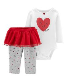 Carter's 2-Piece Valentine's Day Bodysuit & Tutu Pant Set - White