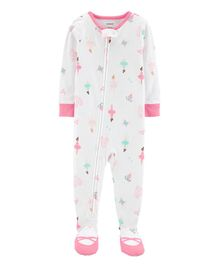 Carter's 1-Piece Ballerina Footed Snug Fit Cotton PJs - White