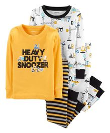 Carter's  4-Piece Construction Snug Fit Cotton PJs - White Yellow