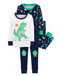 Carter's 4-Piece Dinosaur Snug Fit Cotton PJs - Multicolor