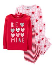 Carter's 4-Piece Valentine's Day Snug Fit Cotton PJs - Red