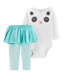 Carter's 2-Piece Panda Bodysuit & Tutu Pant Set - White Sea Green