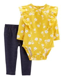 Carter's 2-Piece Floral Bodysuit Pant Set - Yellow Navy Blue