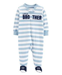 Carter's Little Brother Zip-Up Cotton Sleep & Play - Blue White