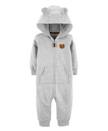 Carter's Hooded Bear Jumpsuit - Grey