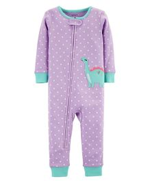 Carter's 1-Piece Dinosaur Snug Fit Cotton Footless PJs - Purple
