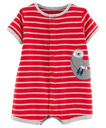 Carter's Striped Sloth Romper - Red