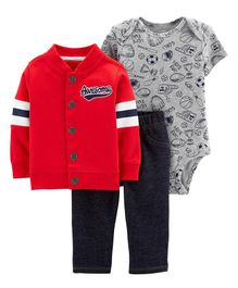 Carter's 3-Piece Little Jacket Set - Red and Blue