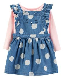 Carter's 2-Piece Bodysuit & Chambray Jumper Set - Pink Blue
