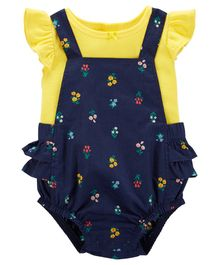 Carter's 2-Piece Flutter-Sleeve Tee & Floral Bubble Romper Set - Yellow Navy Blue