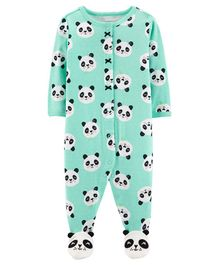 Carter's Panda Zip-Up Cotton Sleep & Play - Light Blue