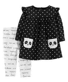 2-Piece Panda Dress & Slogan Legging Set - Black White