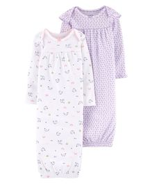Carter's 2-Pack Baby Soft Sleeper Gowns - Purple White