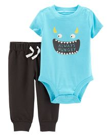 Carter's 2-Piece Monster Bodysuit Pant Set - Blue