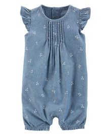 Carter's Flutter-Sleeve Chambray Romper - Blue