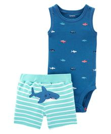 Carter's 2-Piece Shark Bodysuit & Short Set - Blue