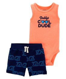 Carter's 2-Piece Cool Dude Bodysuit & Short Set - Peach Blue