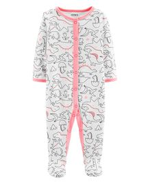 Carter's Dinosaur Snap-Up Cotton Sleep & Play - White