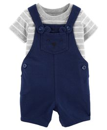 Carter's 2-Piece Striped Tee & Bear Shortalls Set - Navy Blue