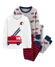 Carter's 4-Piece Firetruck Snug Fit Cotton PJs - White