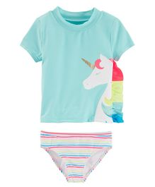 Carter's Unicorn 2-Piece Rashguard Set - Sea Green Multicolour