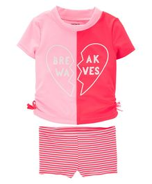 Carter's Break Waves Rashguard Set - Pink