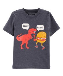 Carter's Snack Attack Dinosaur Layered-Look Tee - Grey