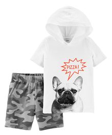Carter's 2 Piece French Bulldog Hoodie & Camo Short Set - White
