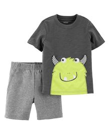 Carter's 2-Piece Monster Slub Tee & French Terry Short Set - Grey
