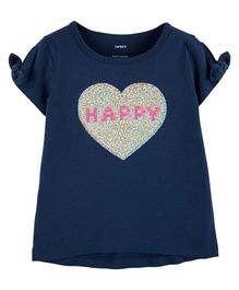 Carter's Happy Heart Split Shoulder Tee - Navy Blue
