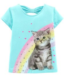 Carter's Rainbow Cat Bow Tee - Turquois Blue