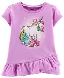 Carter's Glitter Unicorn Ruffle Tee - Purple