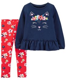 Carter's 2-Piece Kitty French Terry Top & Floral Legging Set - Navy Blue