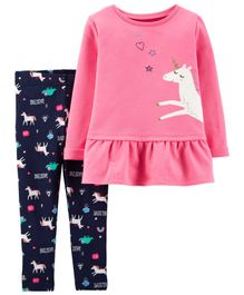 Carter's 2-Piece Unicorn French Terry Top & Legging Set - Pink