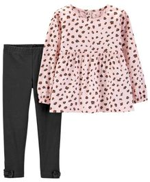 Carter's 2-Piece Cheetah Print Top & Legging Set - Pink