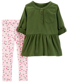 Carter's 2-Piece Sateen Top & Rose Legging Set - Olive Green