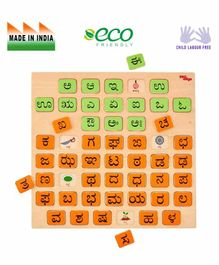 Eduedge Wooden Kannada Letter To Picture Match Orange & Green - Pack of 31 Pieces