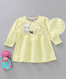 Baby Go Full Sleeves Striped Frock Kitten Patch - Yellow