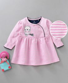 Baby Go Full Sleeves Striped Frock Kitten Patch - Pink