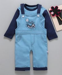 Baby Go Dungaree With Tee Elephant Patch - Blue