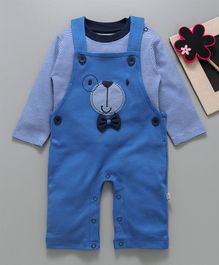 Baby Go Dungaree With Striped Tee Teddy Bear Patch - Blue