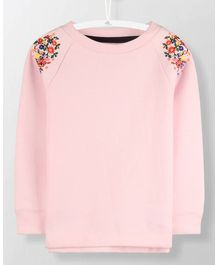 Cherry Crumble California Shoulder Embroidery Top - Pink