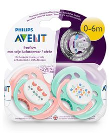 Avent Orthodontic Free Flow Soother Pack of 2 - Pink & Green
